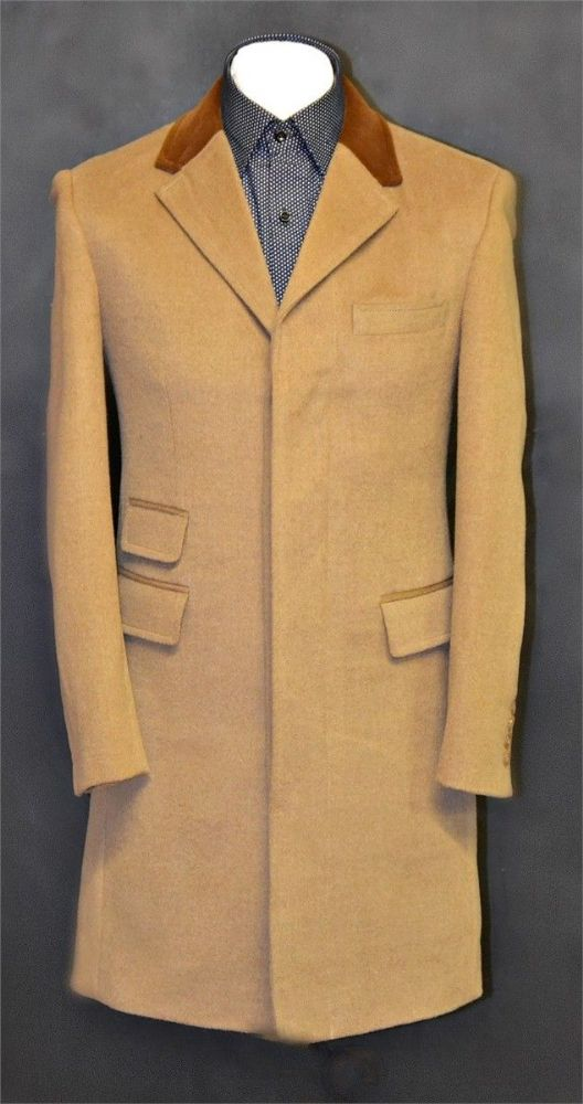 Phil 3 4 Length Overcoat With Velvet Collar